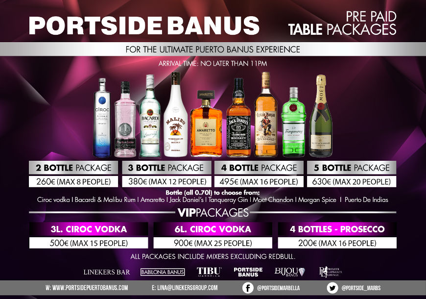 Portside VIP Table Packages